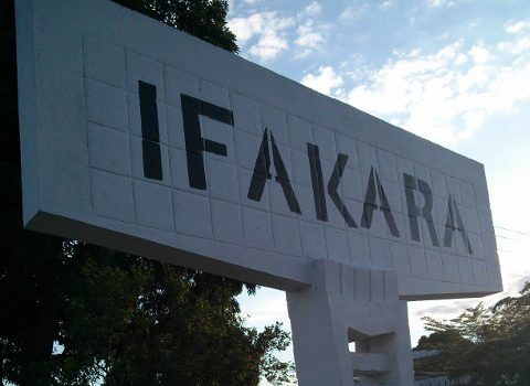 A white sign on the border of Ifakara
